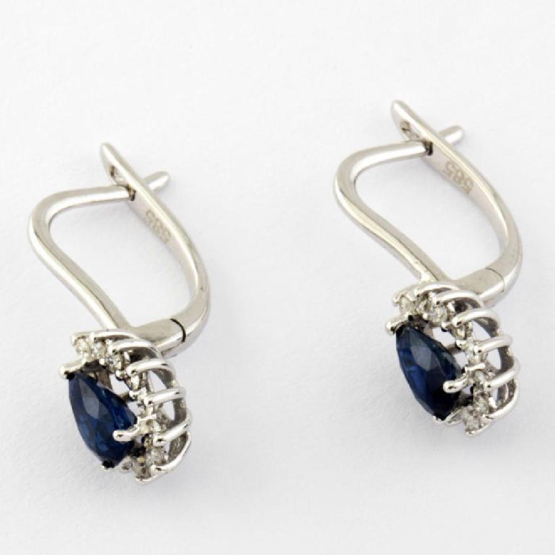 14K Sapphire & Diamond Earring - 4