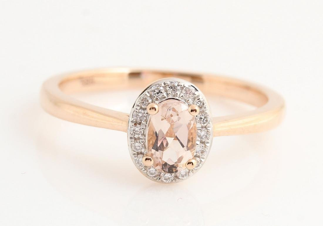 14kt rose gold diamond and morganite ring 0.07ct &