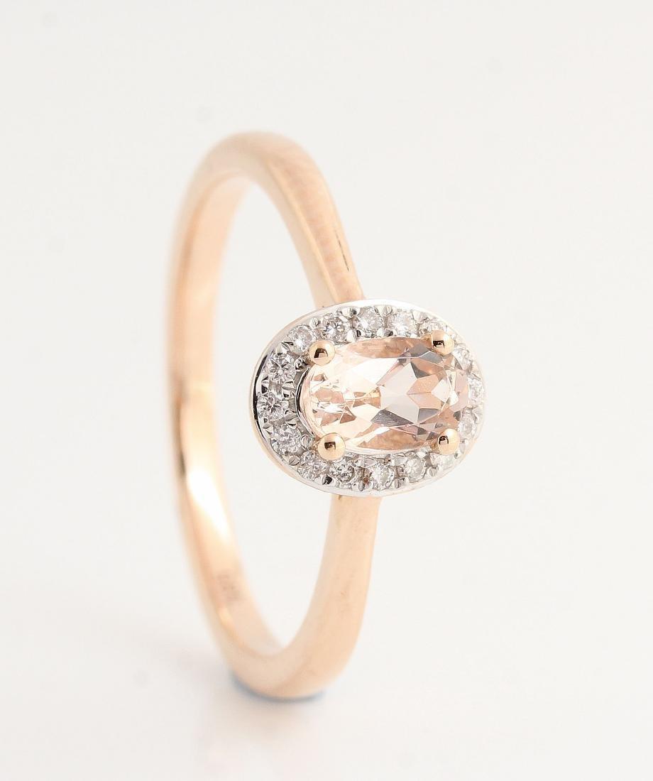 14kt rose gold diamond and morganite ring 0.07ct & - 2