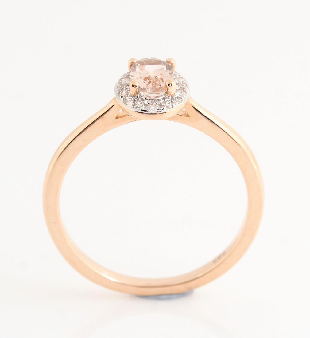 14kt rose gold diamond and morganite ring 0.07ct & - 3