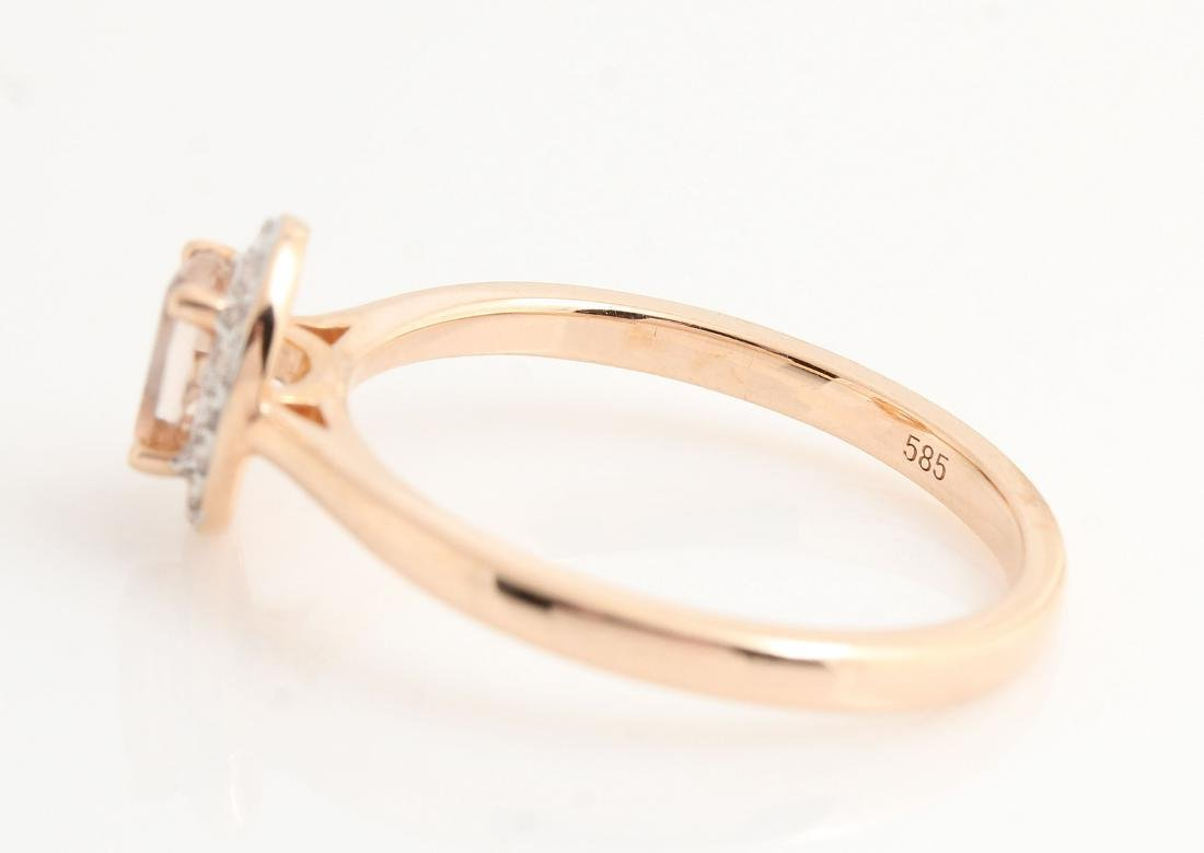 14kt rose gold diamond and morganite ring 0.07ct & - 4
