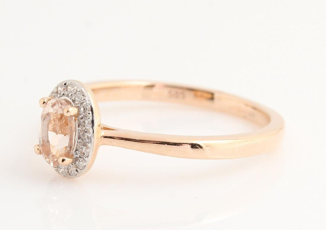 14kt rose gold diamond and morganite ring 0.07ct & - 6