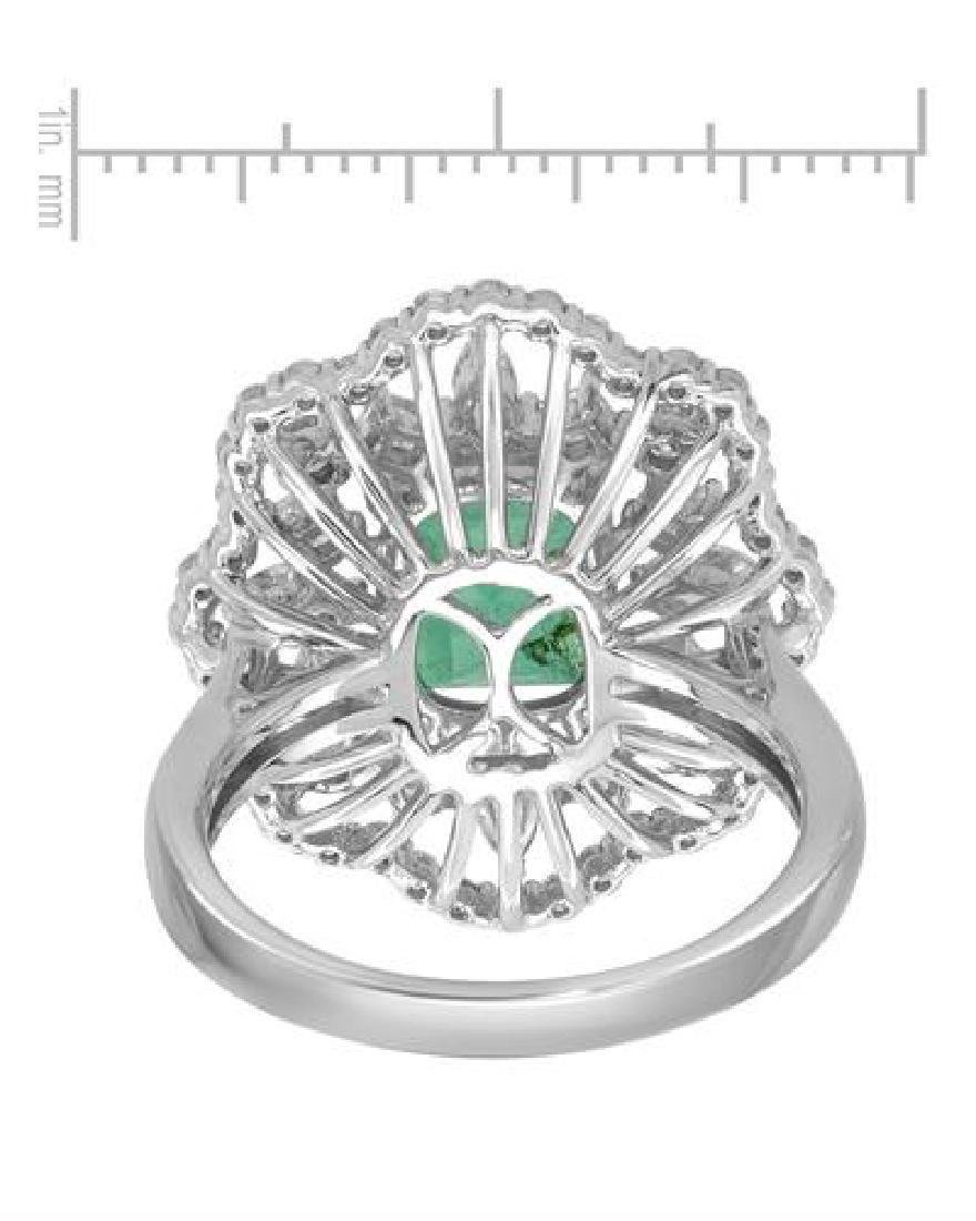 14KT White Gold 1.97ct Emerald and Diamond Ring - 2