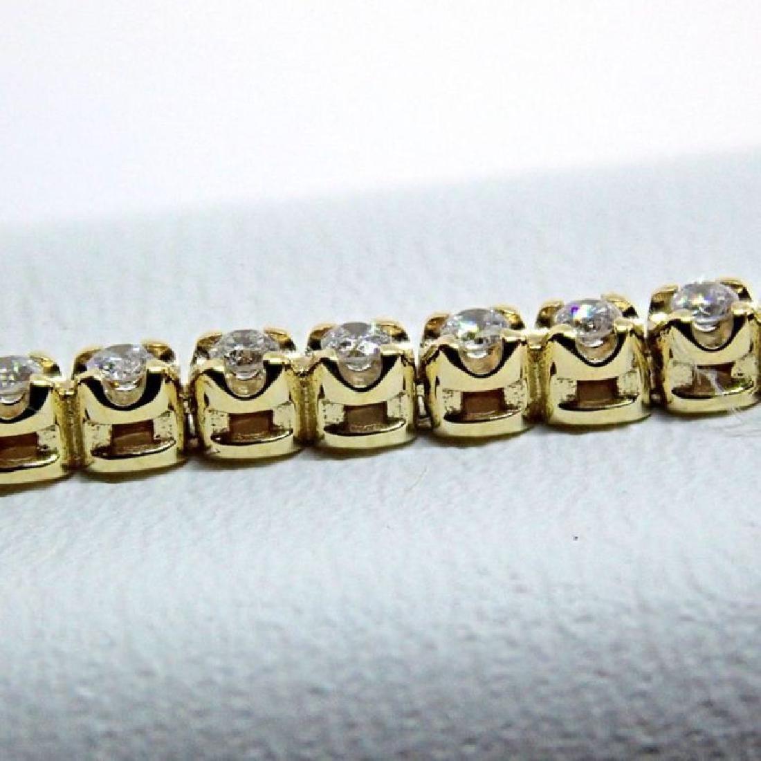 14K 0,91 ct Diamond Tennis Bracelet - 4