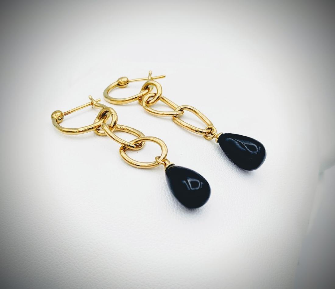 Triple Loop Black Onyx Drop Earrings - 2