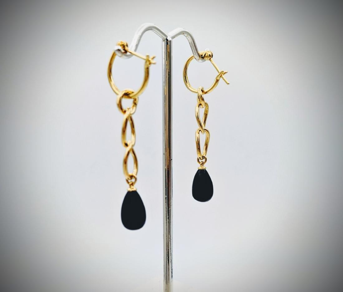 Triple Loop Black Onyx Drop Earrings - 3