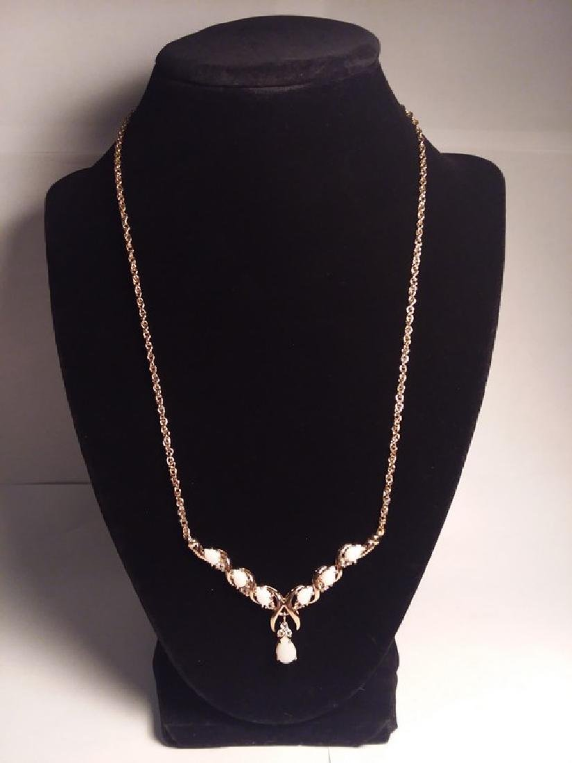 7.69ct white opal and diamond necklace - 2