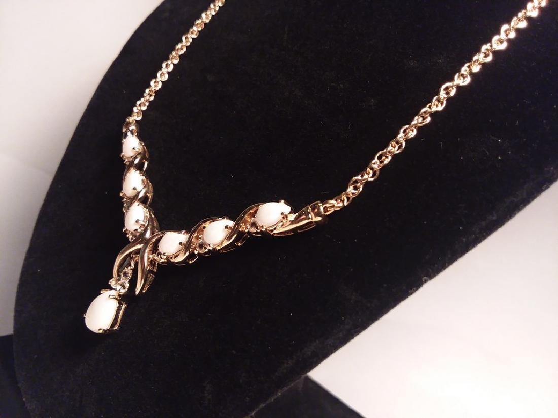 7.69ct white opal and diamond necklace - 3