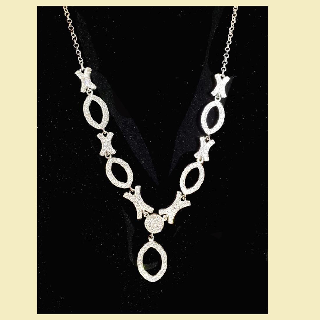 Stuning white gold necklace 14k,cz, x oval o multiple - 2