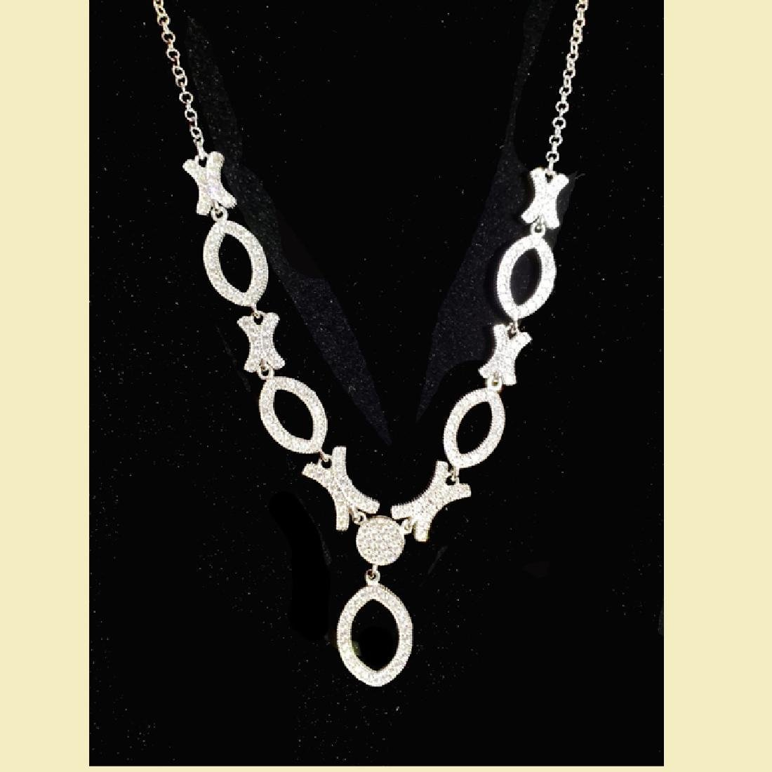 Stuning white gold necklace 14k,cz, x oval o multiple - 3