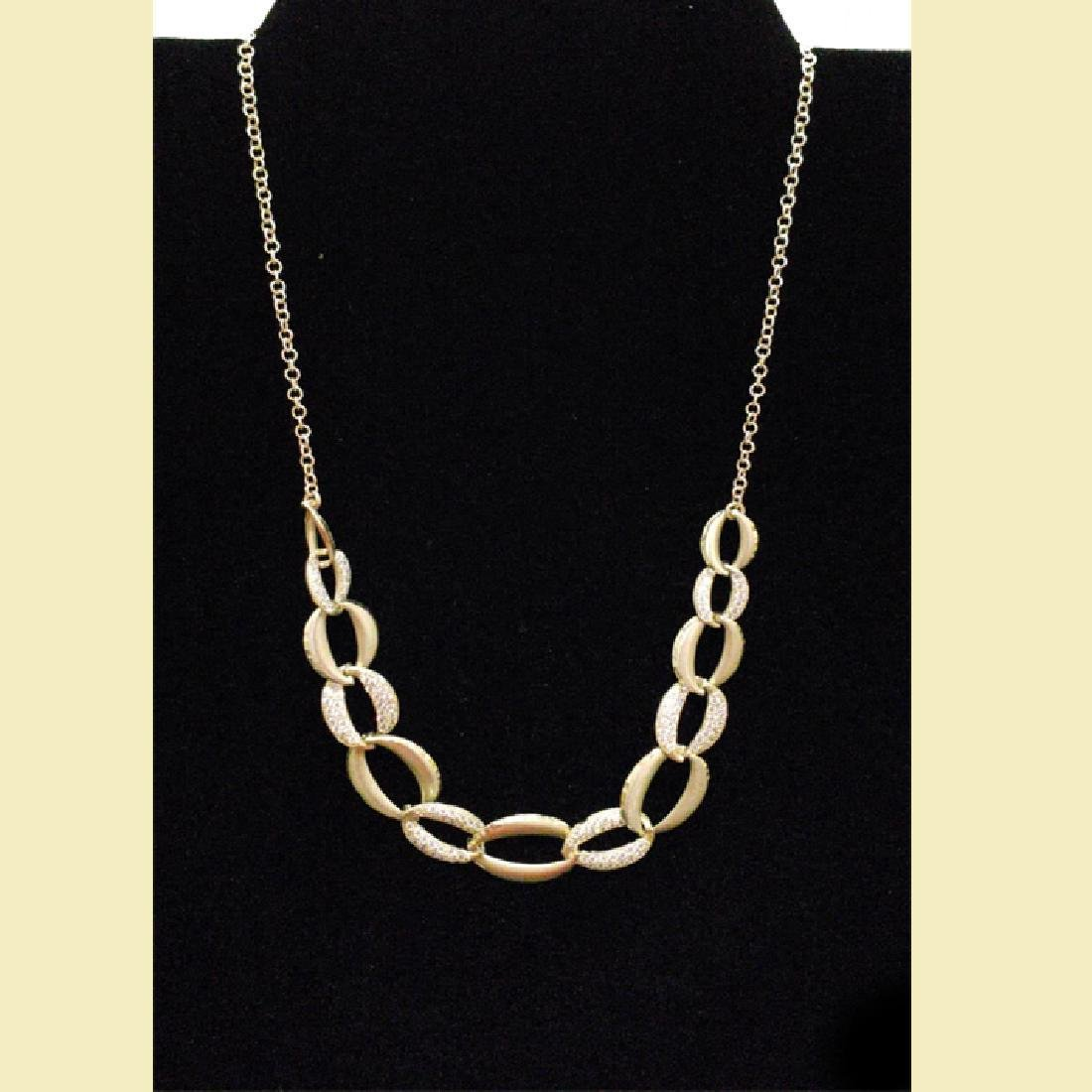 stunning yellow gold necklace 14k with linked oval  cz