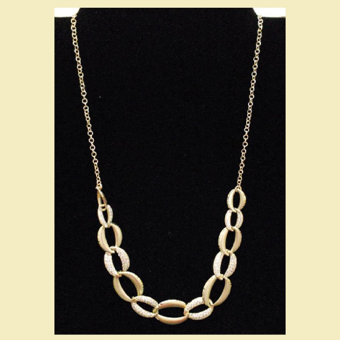 stunning yellow gold necklace 14k with linked oval  cz - 2