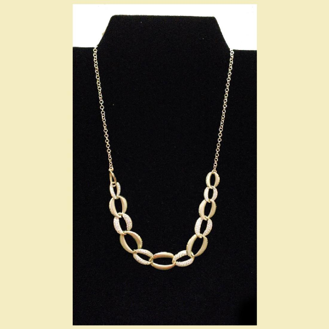 stunning yellow gold necklace 14k with linked oval  cz - 3