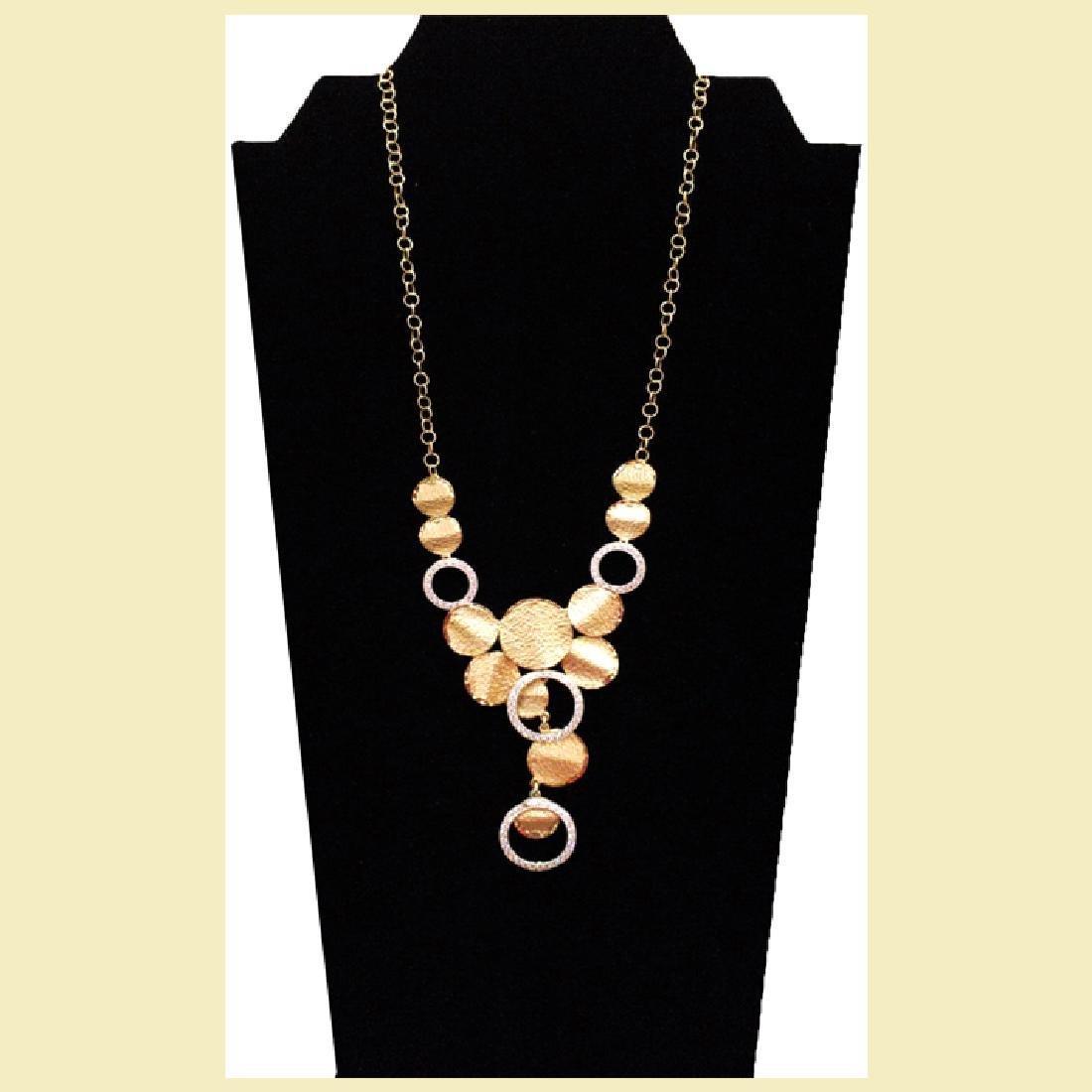 Gorgeous unique pattern necklace 14k yellow &white gold