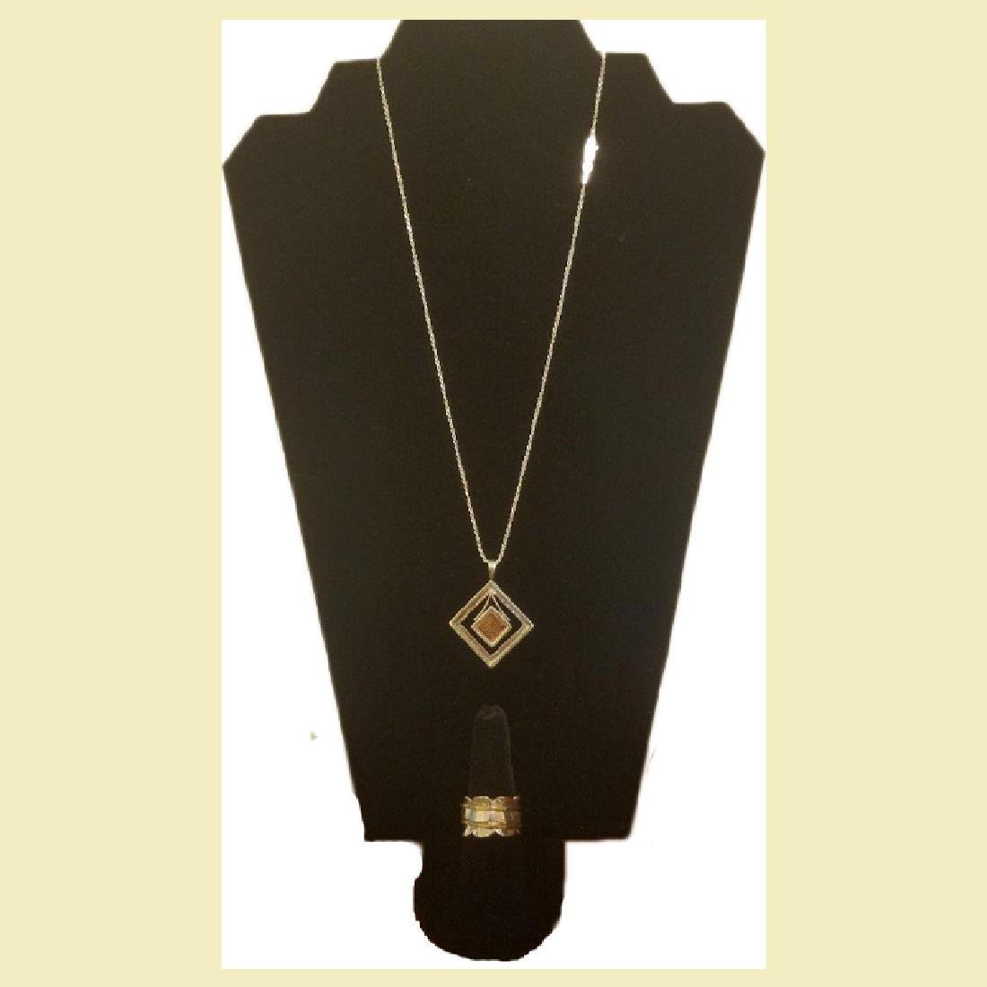 unique set ,14k yelow gold &925 silver necklace and