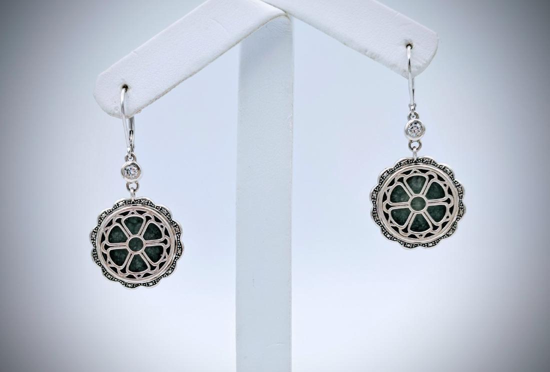 925 SS Double Sided Earrings w Jade, Black Onyx & CZs