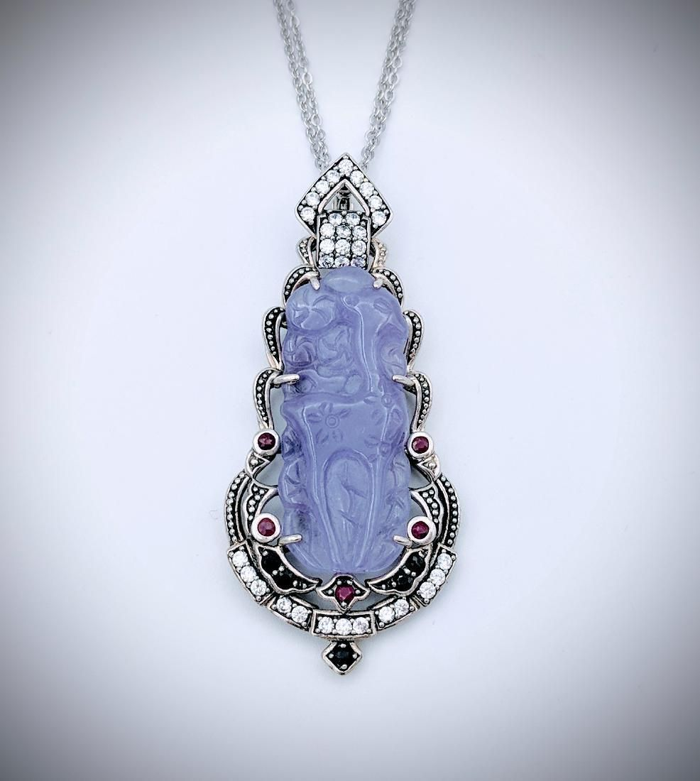Double Chained Necklace & Fawn Engraved Violet Jade