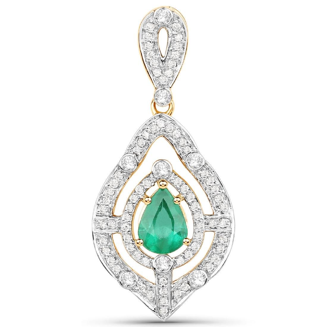 1.17 Carat Genuine Zambian Emerald and White Diamond