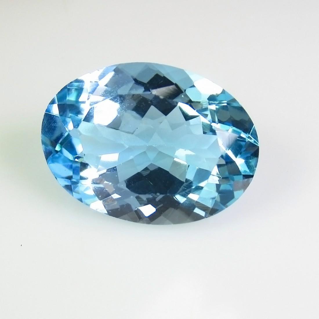 13.77 Ct Genuine Brazil Blue Topaz 18X13 mm Oval Cut