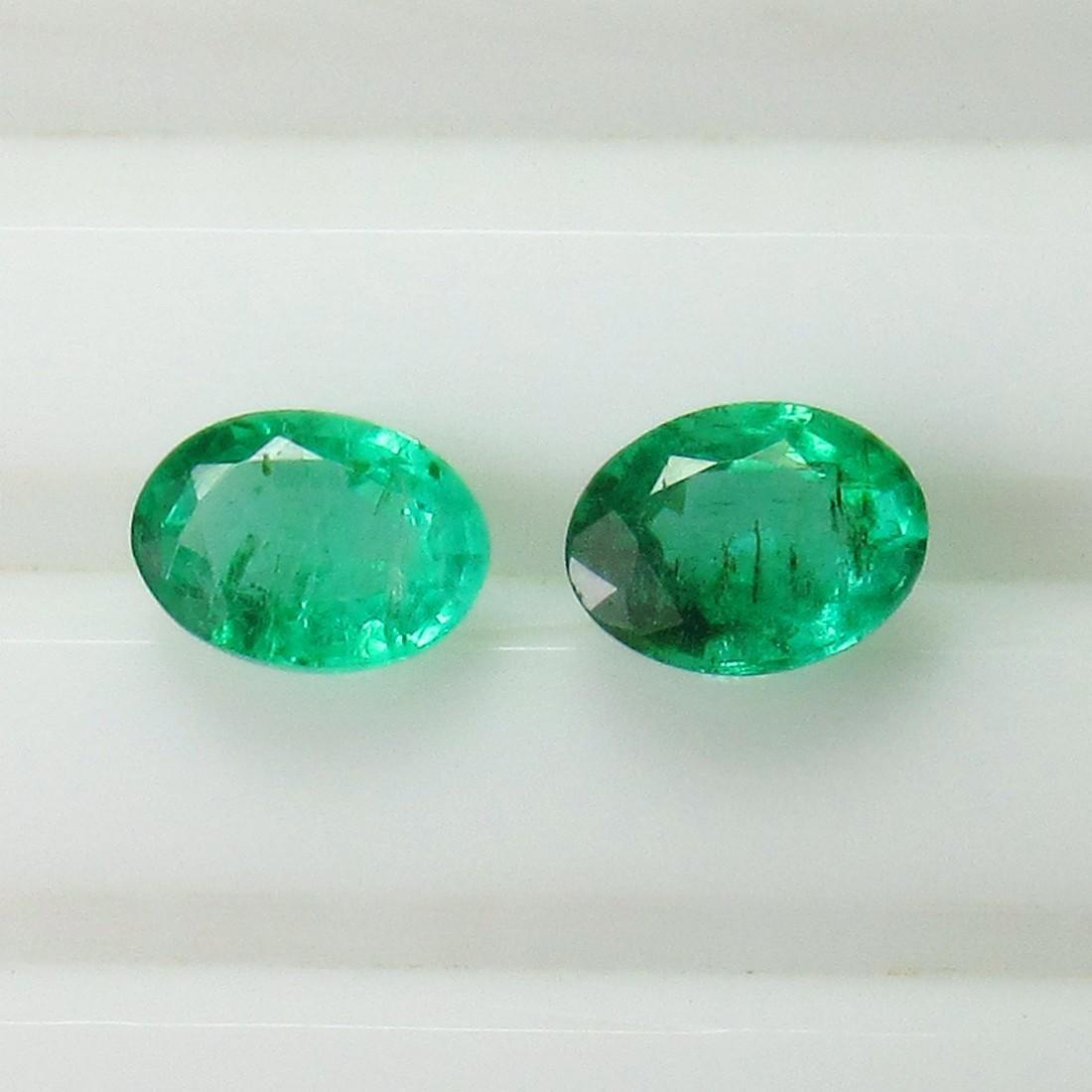 1.02 Ct Genuine Zambian Emerald 6X4.5 mm Oval Pair - 2