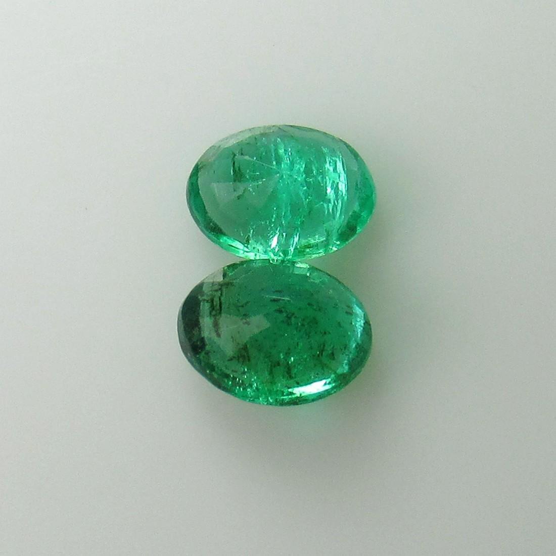 1.02 Ct Genuine Zambian Emerald 6X4.5 mm Oval Pair - 3