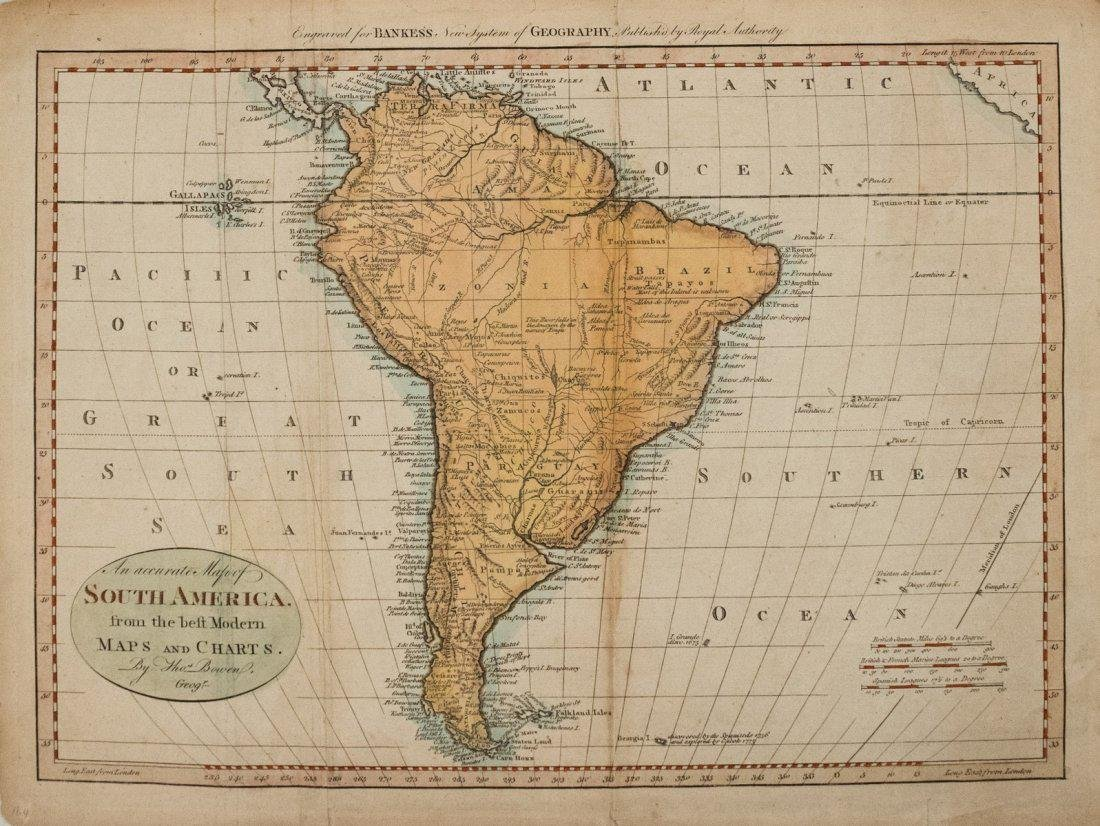 1785 Bowen Map od South America -- An Accurate Map of