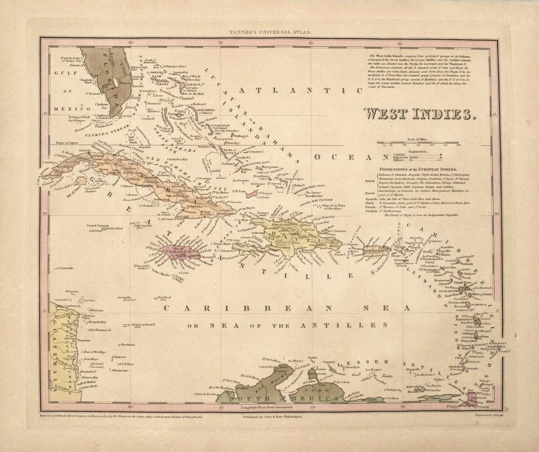 1834 Tanner Map of West Indies -- West Indies