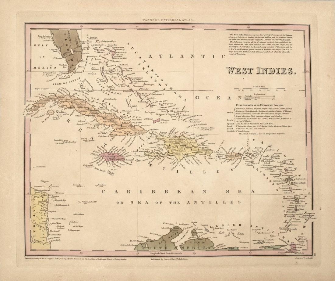 1834 Tanner Map of West Indies -- West Indies - 2