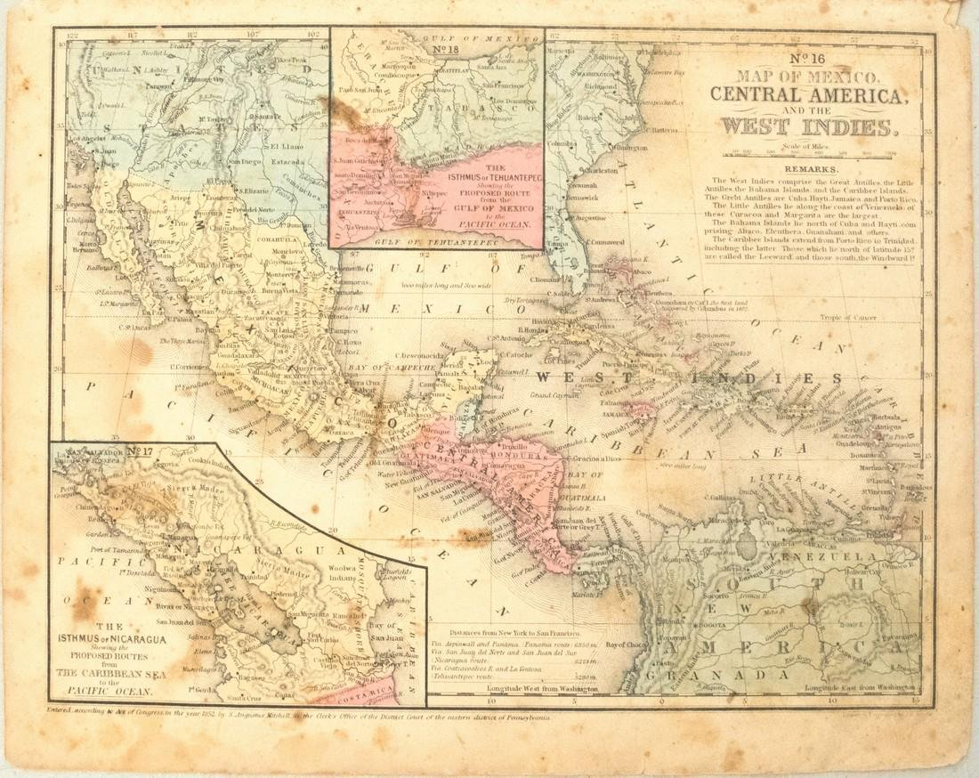 1852 Mitchell Map of Mexico, the Caribbean and Central