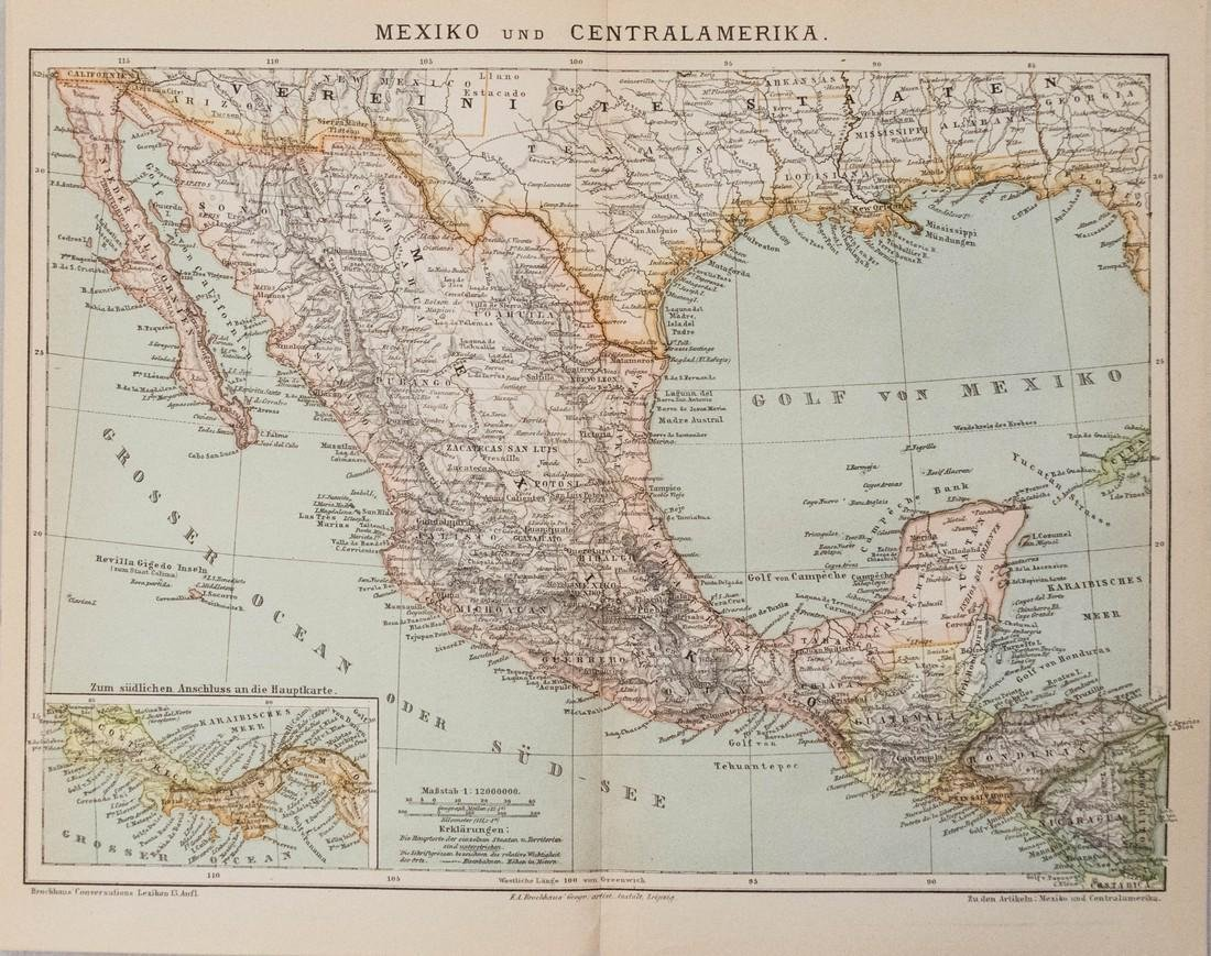 1885 Brockhaus Map of Mexico, Central America and Parts