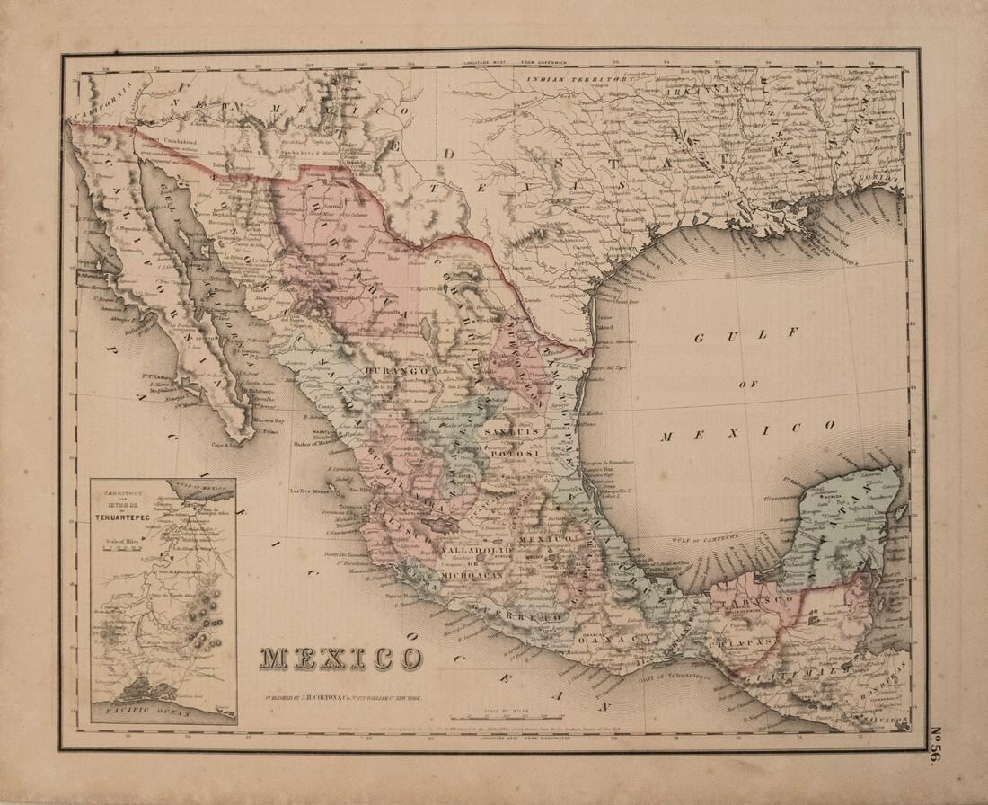 1857 Colton Map of Mexico -- Mexico