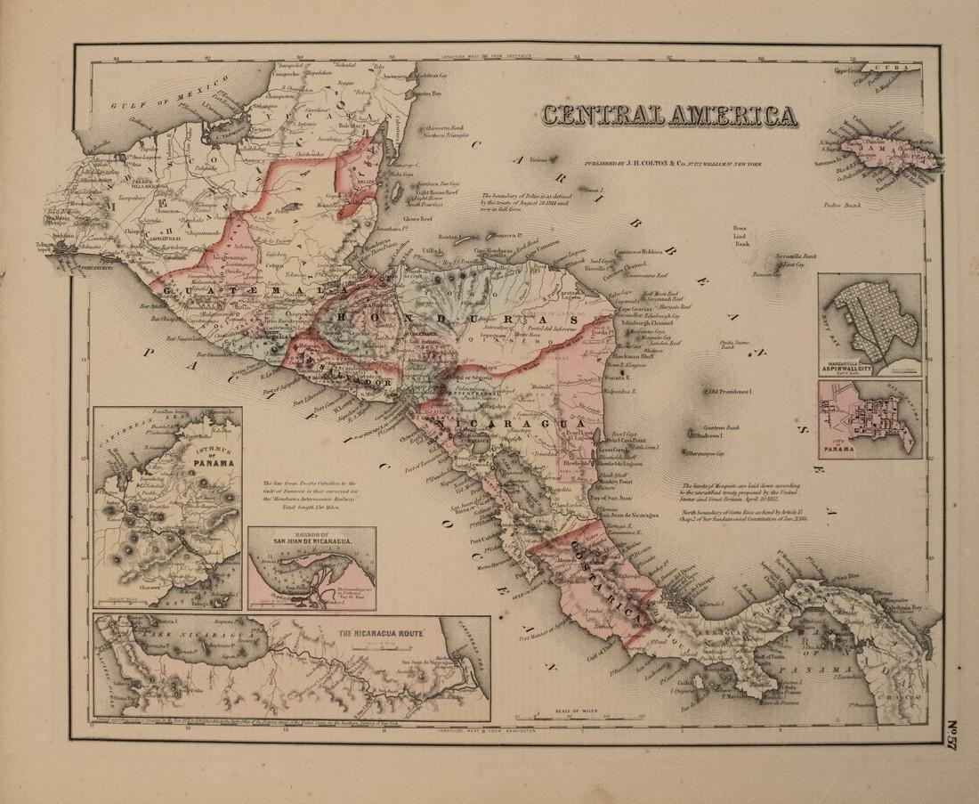 1857 Colton Map of Central America -- Central America