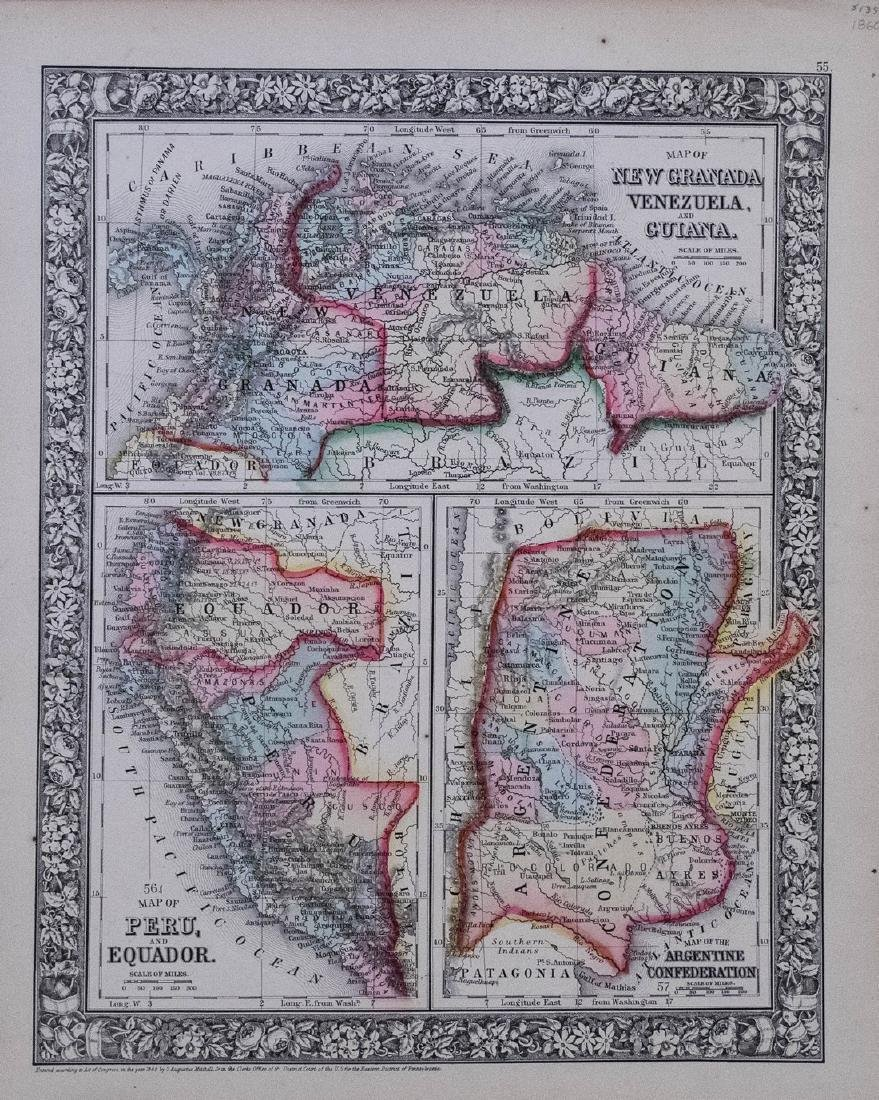 1860 Mitchell Map of Venezuela, Columbia, Granada,