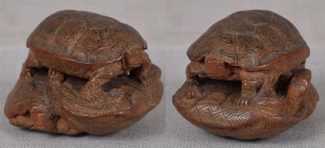 19c netsuke TURTLES by female carver TADAJIKO - 2