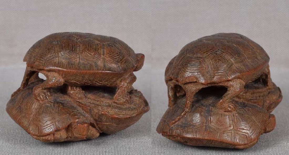 19c netsuke TURTLES by female carver TADAJIKO - 3