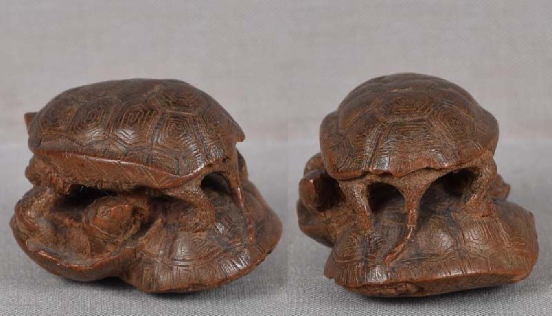 19c netsuke TURTLES by female carver TADAJIKO - 4