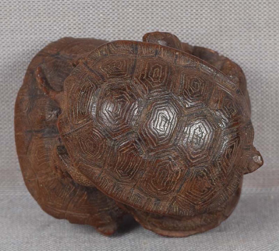 19c netsuke TURTLES by female carver TADAJIKO - 6