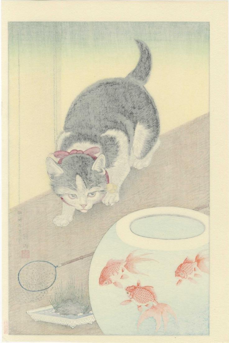 Koson Ohara - Cat and Goldfish - 2