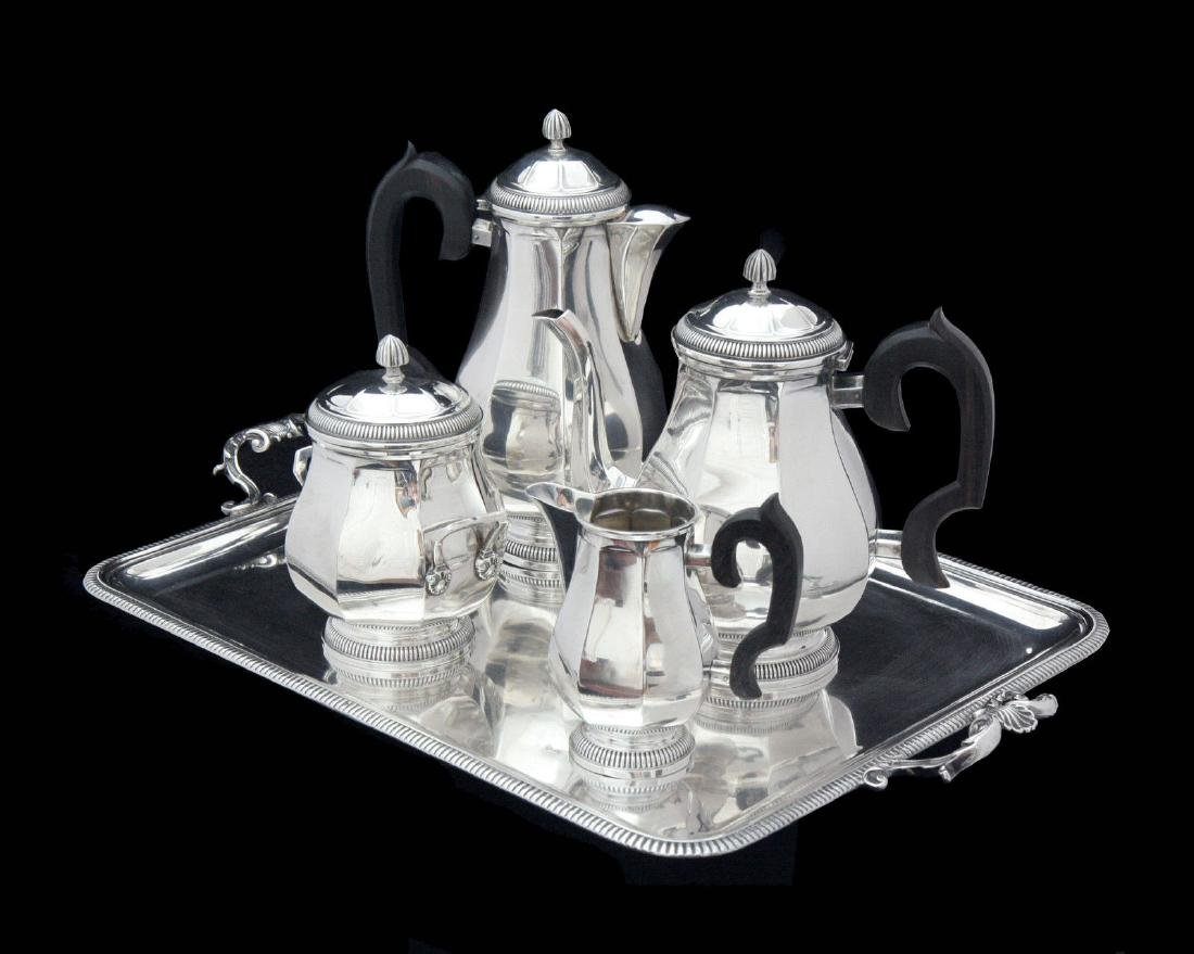 FRENCH ART DECO STERLING SILVER TEA SET, STERLING TRAY