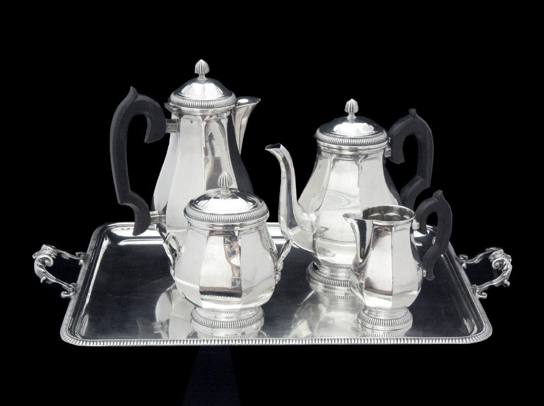 FRENCH ART DECO STERLING SILVER TEA SET, STERLING TRAY - 2