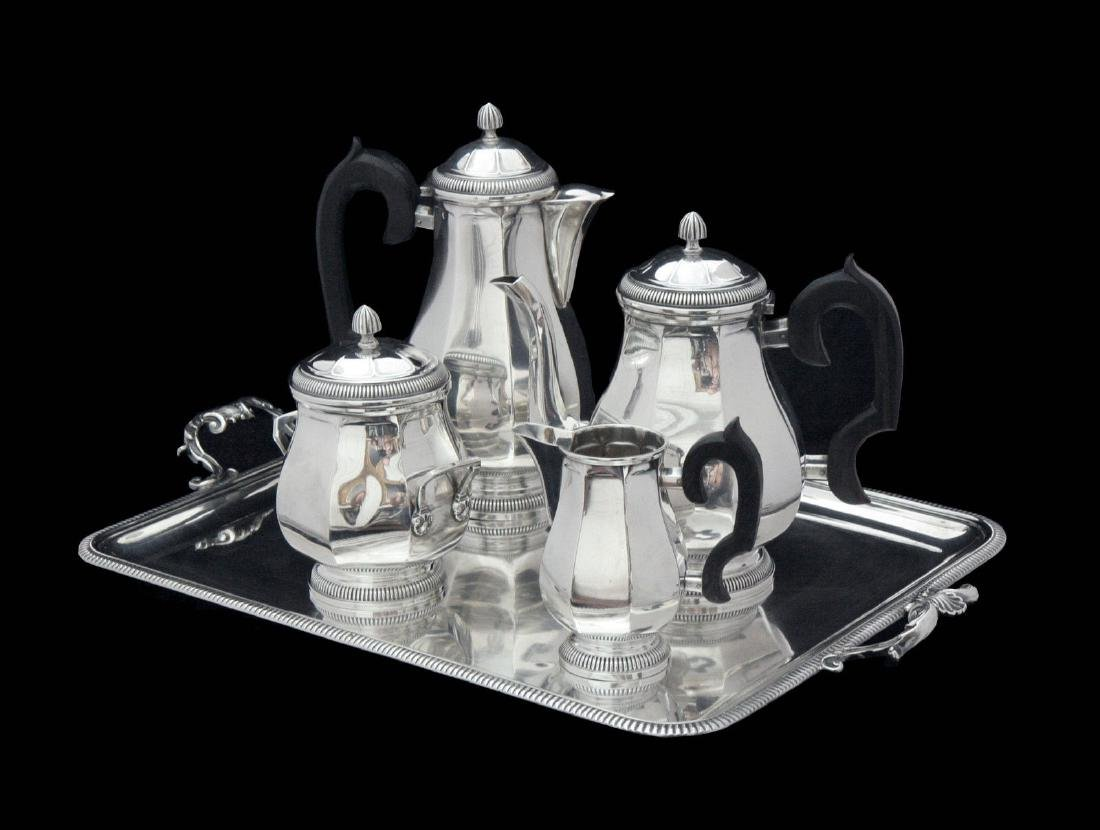 FRENCH ART DECO STERLING SILVER TEA SET, STERLING TRAY - 3