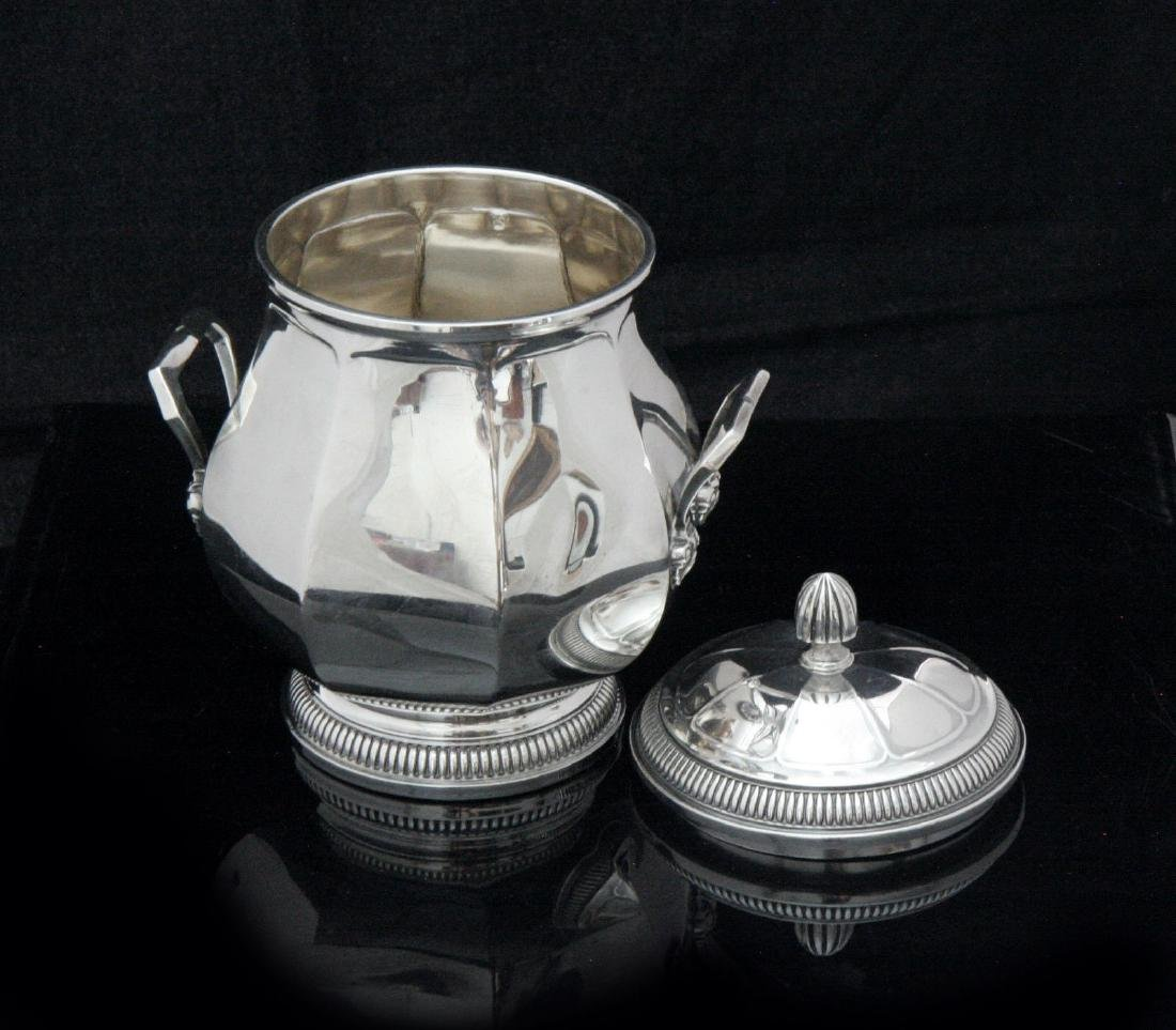 FRENCH ART DECO STERLING SILVER TEA SET, STERLING TRAY - 6
