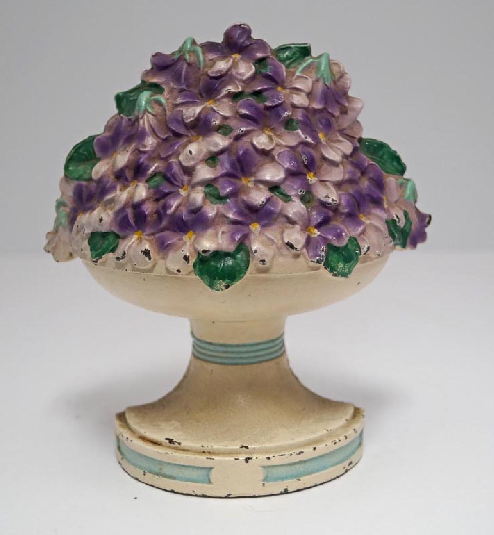 Violet Bowl Flowers Cast Iron Hubley Doorstop