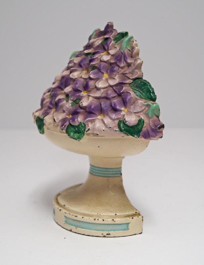 Violet Bowl Flowers Cast Iron Hubley Doorstop - 4