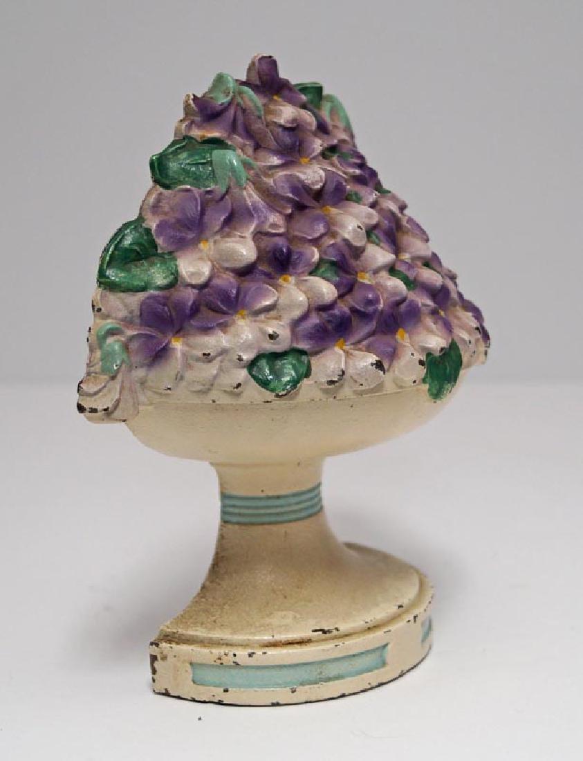 Violet Bowl Flowers Cast Iron Hubley Doorstop - 5
