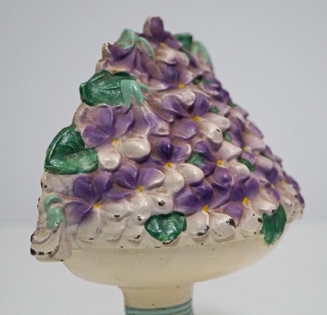 Violet Bowl Flowers Cast Iron Hubley Doorstop - 6