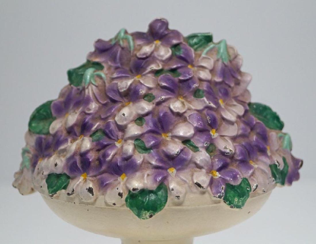 Violet Bowl Flowers Cast Iron Hubley Doorstop - 7