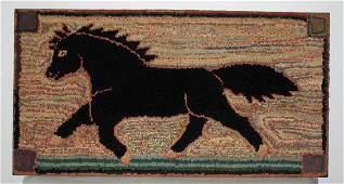 1940's Early folk art black horse hooked rug.