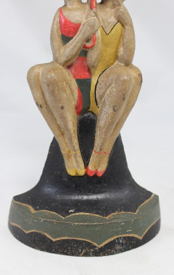 Polychrome Cast Iron Doorstop of Bathing Beauties by - 7