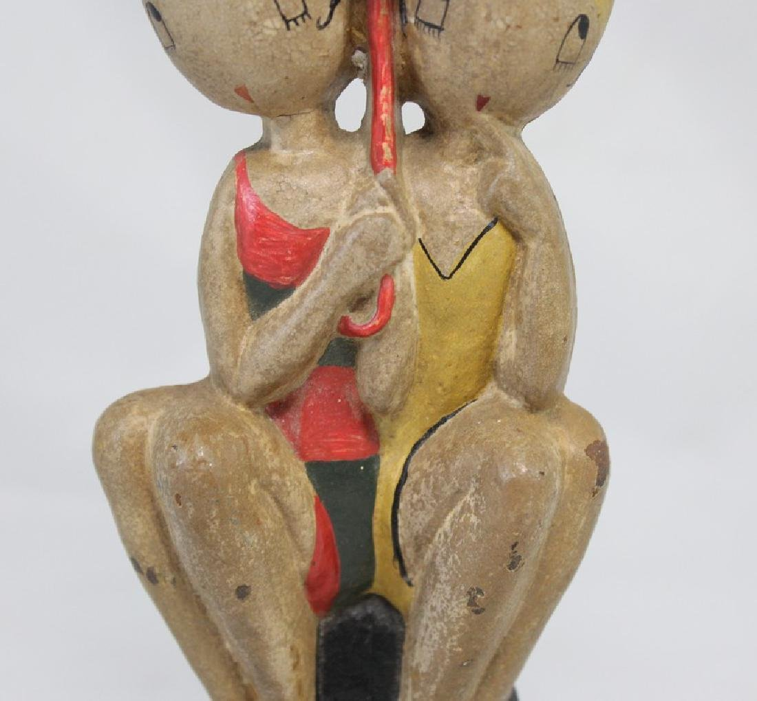 Polychrome Cast Iron Doorstop of Bathing Beauties by - 8